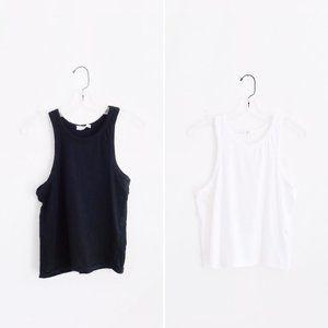 Zara Black + White Cotton Racer Tank Tops sz S